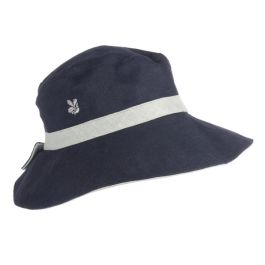National Trust Reversible Linen Hat, Green/Navy