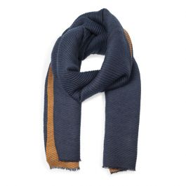 Pleated Scarf, Navy/Tan