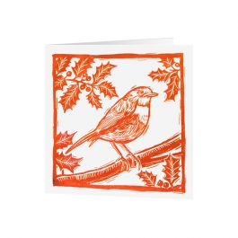 National Trust Lino Cut Robin Christmas Cards, Pack of 10