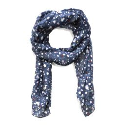 National Trust Silk Scarf with Foil, Navy Ditsy
