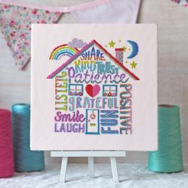 Positivity Rules Cross Stitch