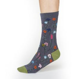 Thought Organic Cotton Grey Floral Socks, Size 4-7