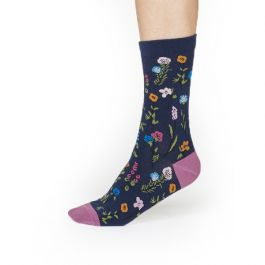Thought Organic Cotton Navy Floral Socks, Size 4-7