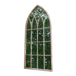 A metal pointed arch frame in a gothic style inset with mirrors